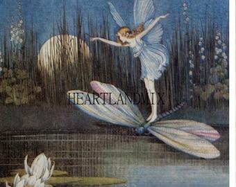Vintage Fairy on a Dragonfly Digital Download Printable Art Image Ida Rentoul Outhwaite