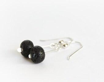 Lava Earrings Black Lava Natural Stone Beads Black Earrings Sterling Silver Earwires Simple Jewelry Gemstone Earrings Minimal Earring #15240