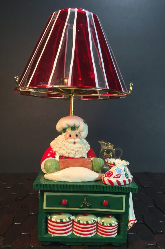 Fitz and Floyd Santa's Kitchen Tealight  candle holder Candy Cane Color Lamp Shade