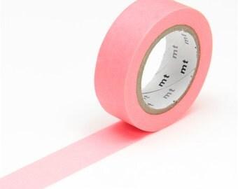 MT Shocking Bright Red Basic Solid Washi Tape - Japanese Washi Masking Tape - fluorescent neon red washi