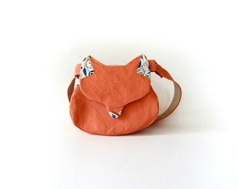 Kawaii bag, cat purse, gift for her, woodland fox purse, fox bag, salmon pink phone wallet, lolita fashion