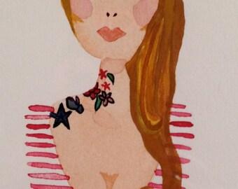 Tattoo Lady - Original Watercolor - 5x7