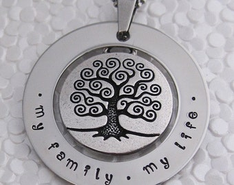 Stainless steel Tree of Life pendant (large)