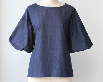 Balloon sleeve blouse, Cotton Spring Summer blouse