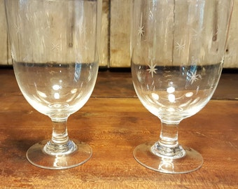 1940s Vintage Starburst Water Glasses