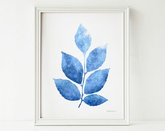 Blue Leaves Print And White Wall Decor Living Room Art