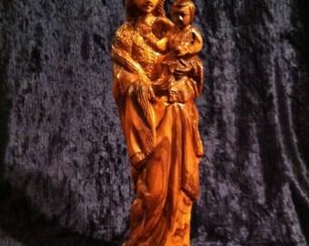 Vintage Madonna And Child In Hand Carved Olive Wood