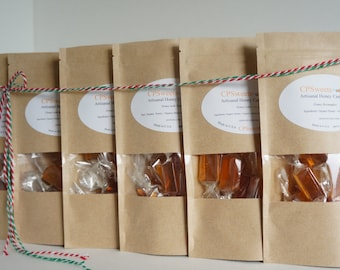 Hard Candy, Homemade Candy Gift, Honey treat, Six Bags, Choose your Flavors