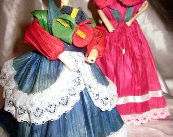MEXICAN CORNHUSK DOLLS, Cornhusk Dolls, International Dolls, Mexican Folk Dolls, Handmade Corn Husk Dolls, Husk Dolls, Mexican Ladies Dolls