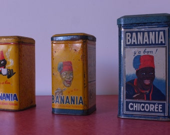 Boxes Banania, lots boxes old metal, 3 boxes Tin collection