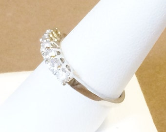 Size 9 Sterling Silver And Cubic Zirconia Ring