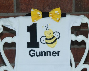2 pc. Boys Bee Birthday Bodysuit and Bow Tie! Boys bumble bee applique top, and matching bow tie! Boys First Birthday Outfit