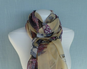 Silk Scarf Medieval Pattern