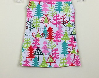 """Size 3 - Fully Reversible - """"Alexandra Dress"""" - Cheery Christmas tree and Happy Penguins on reverse"""