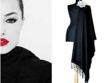 Classy Black Shawl, Elegant Scarf, Stylish Formal Wrap, Black Wedding Shawl, Luxury Pashmina, Fashion Scarf, Bridesmaids Gift, Wedding Favor