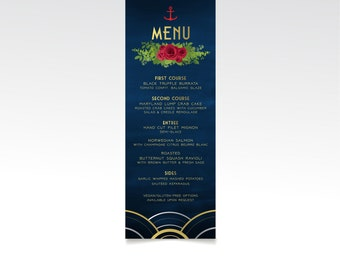 ALICE Nautical . Menu Printed Card or Large Manu Sign . Anchor Navy Military Wedding Red Rose Art Deco Great Gatsby 1920s Gold Silver Black
