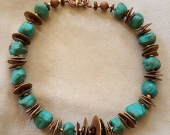 Bronze and Clay Necklace
