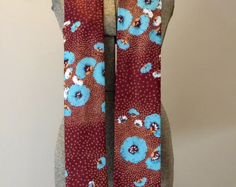 Mod Scarf Mid Century Floral Brown Blue