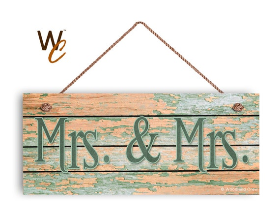 Same Sex Wedding Gift Ideas: Mrs. & Mrs. Sign Same Sex Wedding Gift Distressed Wood