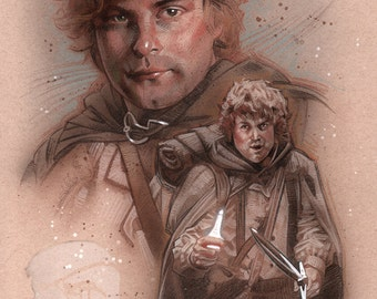 Samwise the Brave, original acrylics and colored pencil