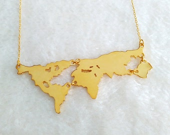 Gold World Map Necklace,Personalized Earth Jewelry,Mother Earth Necklace,Earth Day Gift,Travel Necklace,Country Necklace,Memorial Gift