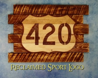 420, FREE UV protector, 30X23, Burnt wall hanging, Shou Sugi Ban, Charred wood, Sport sign, Rustic, Pallet wood, Barn wood, Wood Sports sign