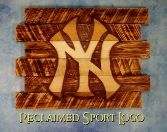 New York Yankees, FREE UV protector, 30X23, Burnt wall hanging, Shou Sugi Ban, Charred wood, Sports, Man cave, Wood Sports sign, Pallet wood