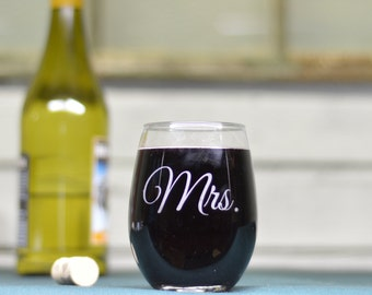 Mrs. Wine Glass. Etched Stemless Wine Glass.