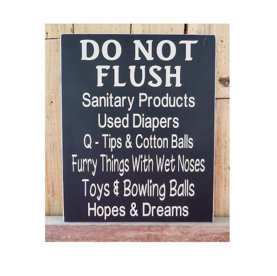 Do Not Flush 10 X 12 Wood Sign Bathroom Decor Bathroom Wall