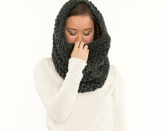 Chunky Knit Infinity Scarf, Wool Knitted Hood / Cowl, Extra Large Neck Warmer, Women's Warm, Soft, Cozy Winter Knitwear Accessory