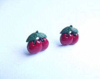 Cherry Stud Earrings, Red Cherries, Pin Up Earrings, Rockability, Retro Earrings