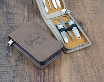 Personalized Manicure Kit - Personalized Leather Grooming Set - Custom Engraved Manicure Set - Manicure Kit - Bridesmaid Gift