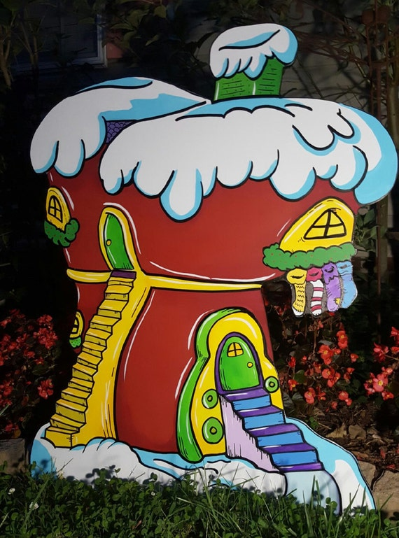Grinch Yard art Whoville Shop 1 Hand painted Christmas