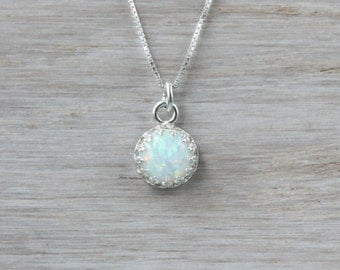 White opal necklace, sterling silver, bridal wedding necklace, gift for bridesmaid or maid of honor, October birthstone, 8 mm white lab opal