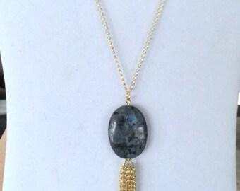 Long labradorite tassel necklace, tassel necklace with labradorite gem stone, grey tassel necklace