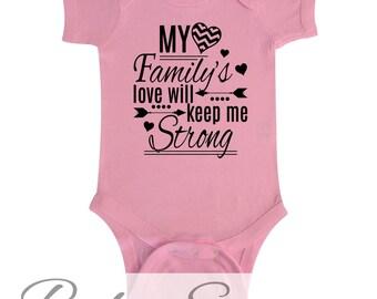 My Family's Love Will Keep Me Strong Chevron Heart Arrow Cute Baby One Piece Shirt Newborn Bodysuit