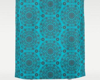 Boho Shower Curtain, Large Shower Curtain, Brown Blue Bath Curtain, Floral Bath Curtain, Bohemian Curtain, Shower Curtain 71x74