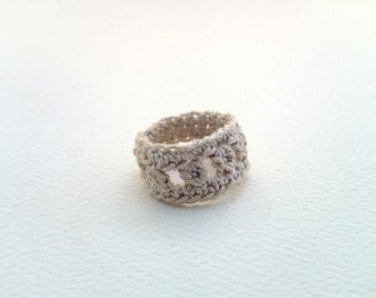 Geometric Crochet Ring ~ Ecru casual ring (Made To Order) - Free shipping in Australia!