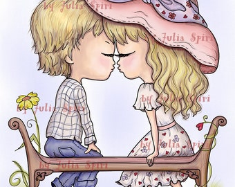 Digital Stamps, Digi stamp, Love stamps, Coloring pages, Valentin stamp, Love, Kiss, In Love. Love is in the Air Collection. The First Kiss