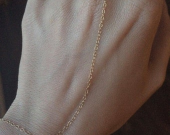 Slave Bracelet, Hand Chain, Basic Slave Bracelet, Delicate 14k Gold Filled Hand Chain Bracelet