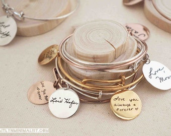 40% OFF* Expandable Engraved Handwriting Disc Bracelet - Actual Handwriting Bangle - Friendship ...