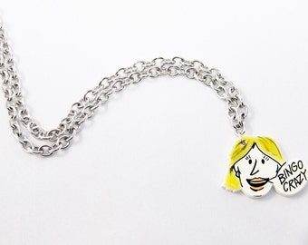 "Womens - Teens 18"" Silver Chain Cartoon Pop Art Pendant Necklace"