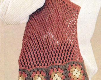 Crochet Tote Granny Square Beach Bag Tote, Market Tote,  Slouchy Book Bag,  Purse, Crochet Bag Pattern - PDF Download