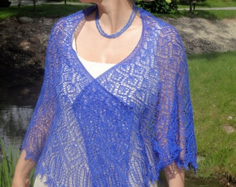 Beaded Hand Knit Cobalt Blue Semicircular Shawl.