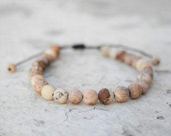 Men Bead Bracelet, Picture Jasper Bracelet, Men Energy Jewelry, Healing Bracelet, Men Zen Bangle, Men Gift, Couple Gift, unisex jewelry