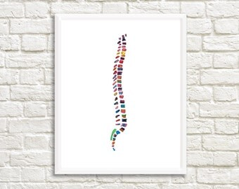 Spine Print - Spine Art Print - Anatomy Art Print - Medical Art  - Chiropractor Art - Chiropractor Gift - Watercolor Anatomy Illustration
