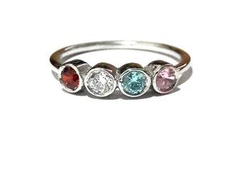Gold Birthstone Ring-14K Gold Family Ring-Gold Mothers Ring-Personalized Family Ring-Mothers Ring-Family Ring