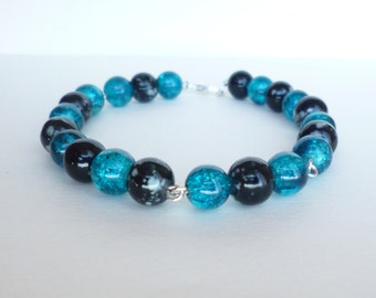 Black and Blue Bracelet, Black Bracelet, Blue Bracelet, Blue and Black Bracelet, Baby Blue Bracelet, Black Beaded Bracelet