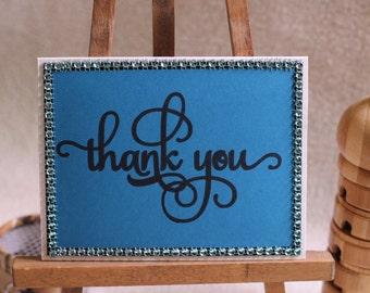 Handwritten Thank You Card, Greeting Card, Handmade Card, Blank Card, Rhinestones Card