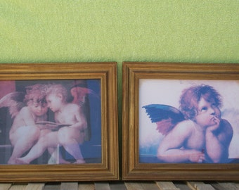 Angel Pictures, Set of Two, Cherub Wall Hangings, Vintage 1995, Prestige Graphics Inc, Religious Art, Framed, Christian Decor